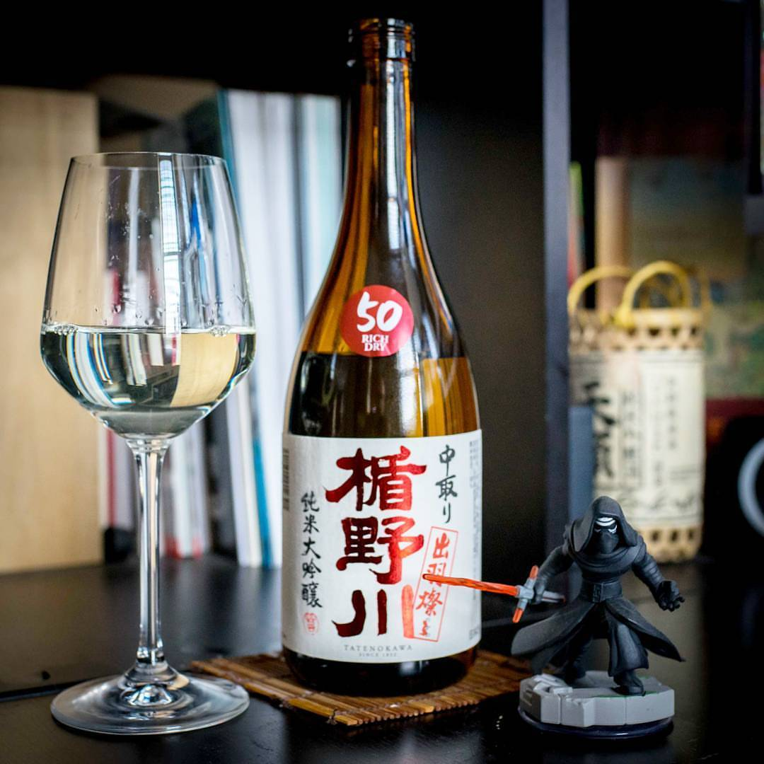Sipping some delicious Tatenokawa 50 Nakadori Junmai Daiginjo while pouring over photos and notes from last week's sake events. Keep an eye out for those shots and comments coming soon! #sake #yamagata #dewasansan #kyloren