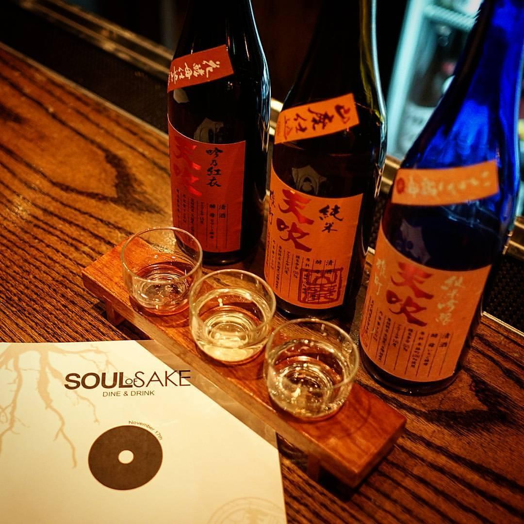 Flight of the Flowers sake flight at the fantastic #saikaidiningbar for #soulofsake hosted by @misssakeusa  #sake #amabuki #saga  #日本酒 #穴吹 #佐賀県 (at Saikai Dining Bar)