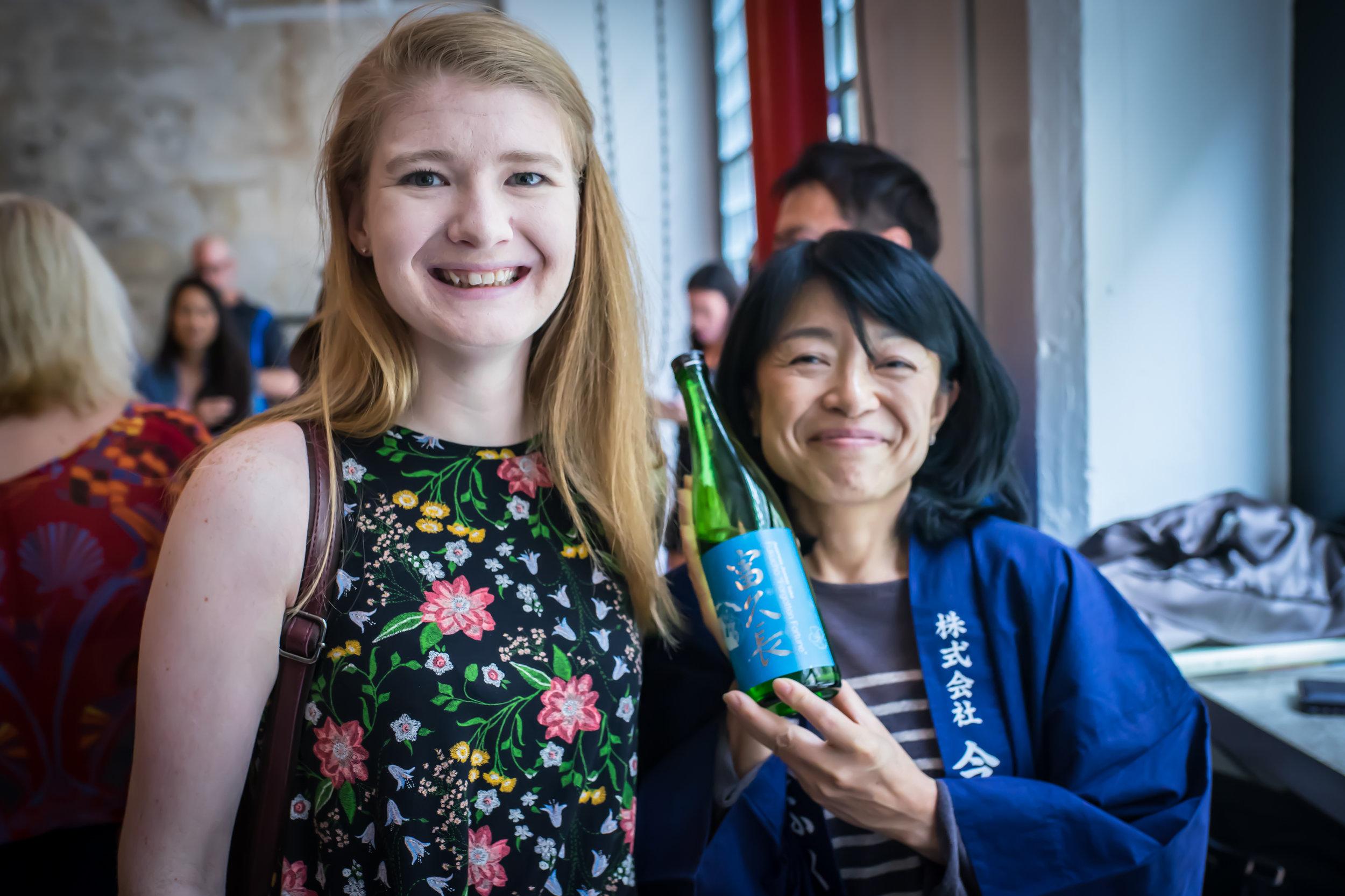 Myshell, lover of Hiroshima Sake shares a moment with Miho Imada, brewer of Hiroshima Sake