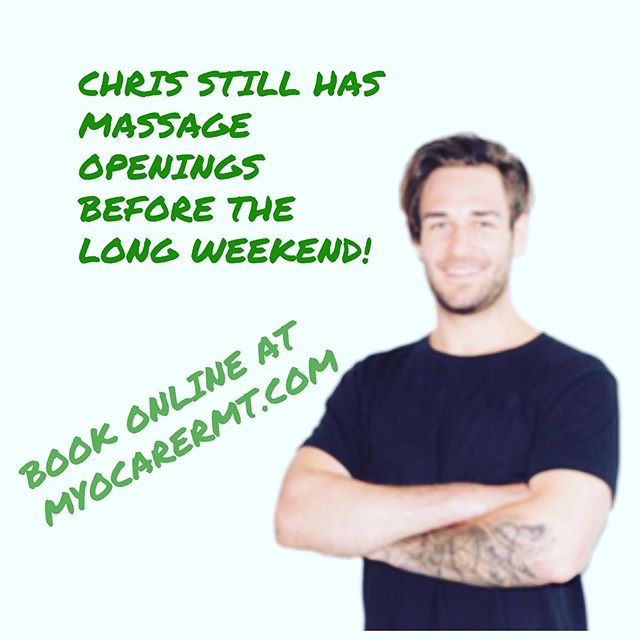 Be pain free for the long weekend! Chris Hollick RMT still has some openings on Thursday and Friday. Book online at Myocarermt.com #massagetherapytoronto  #torontormt #may24weekend