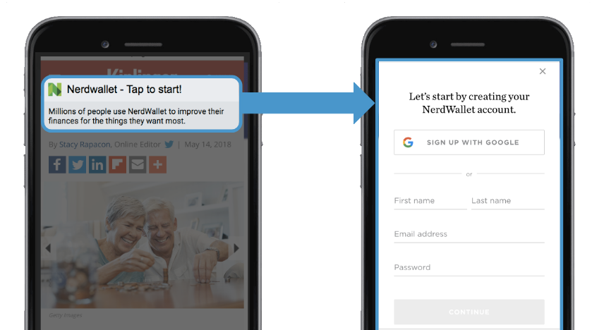 NerdWallet encouraged users to sign up for a free account.