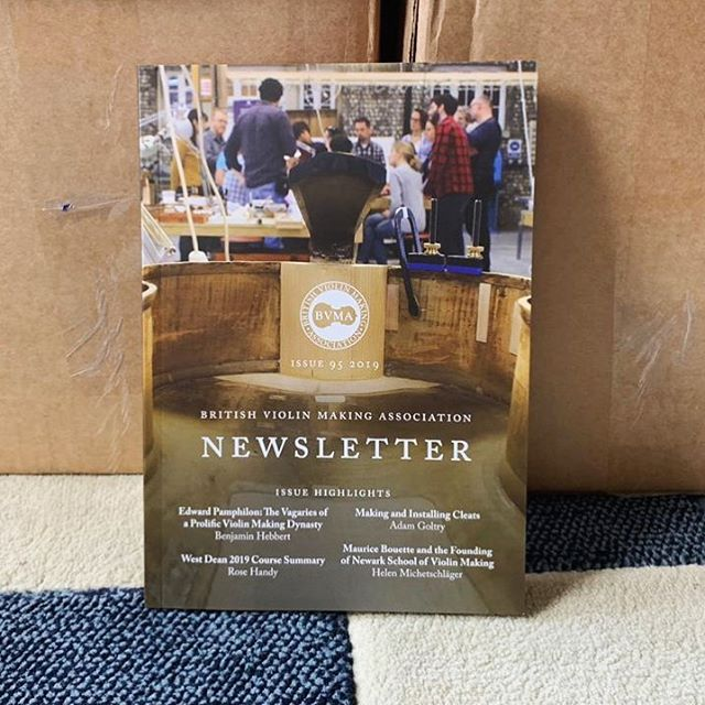 A sneaky first look at the latest BVMA newsletter fresh off the press! We're really excited about this issue: it's a great mix of light-hearted articles (like the coverage of a 1890s court case involving a glue pot being left inside a cello) and more informative pieces - both practical and research. It also covers recent and upcoming events with a guide to this year's BVMA conference.