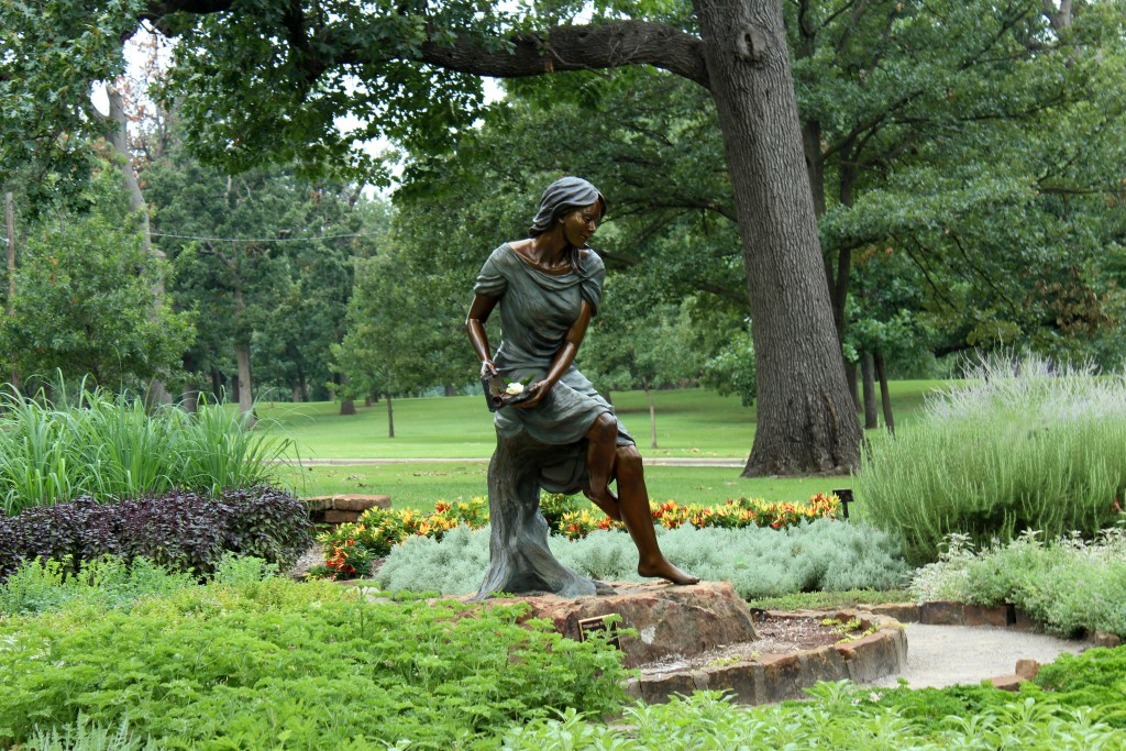 """""""Poems and Promises"""" statue at the Anne Hathaway Herb Garden"""