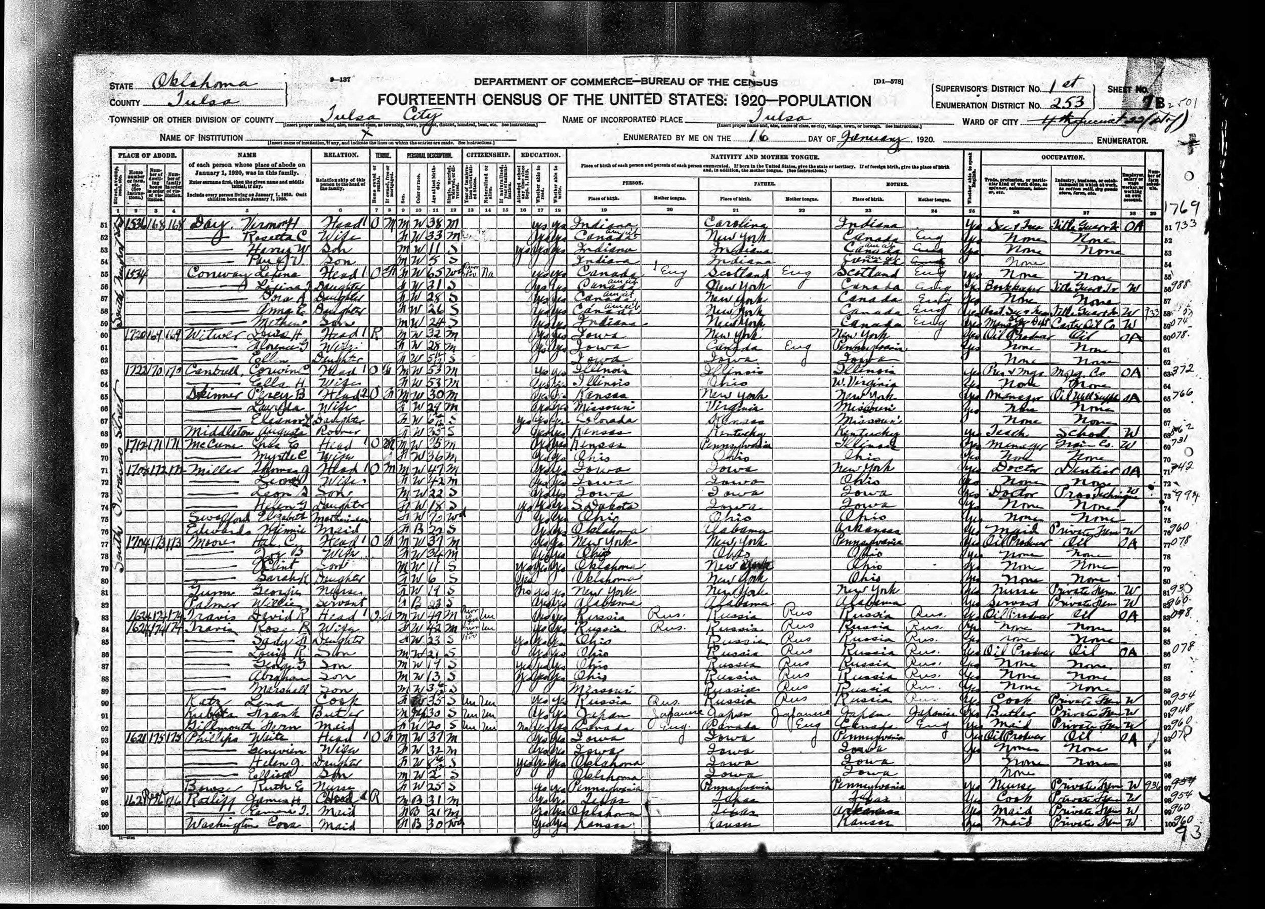 David R. Travis census record (1920)