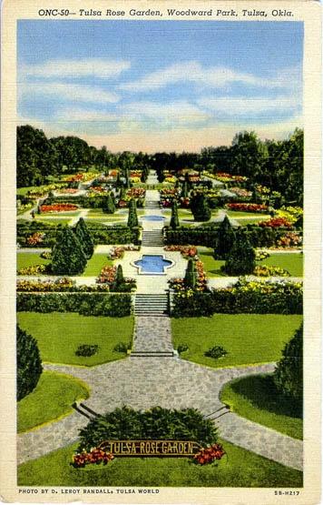 Tulsa Rose Garden postcard