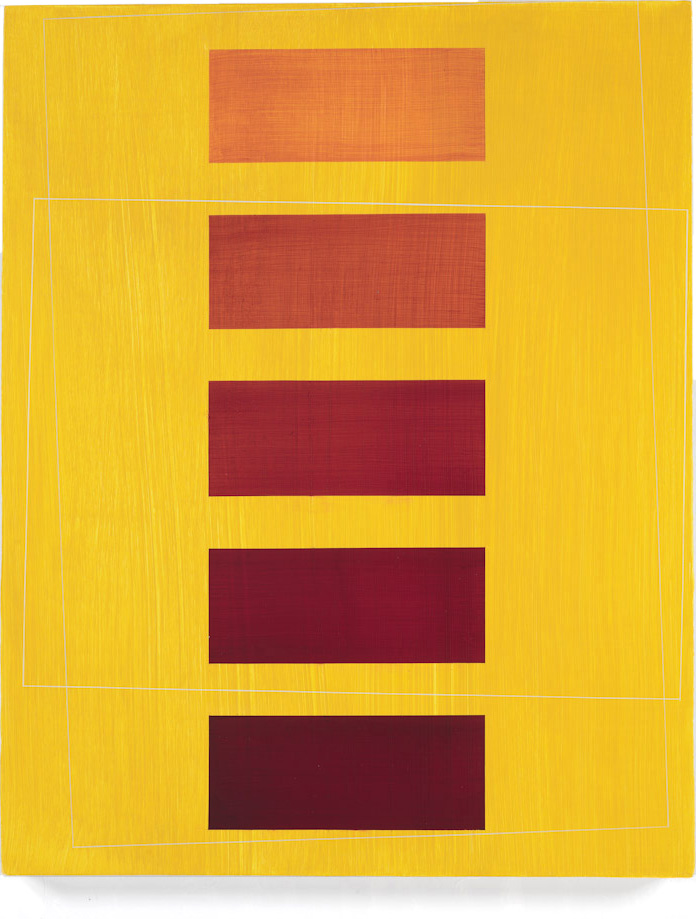Maroon Blocks on Yellow, 2009, 19x15