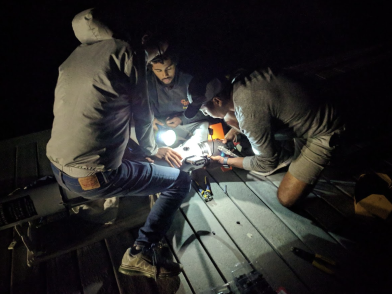 Late night hardware debugging on the dock at USC Wrigley Marine Science Center