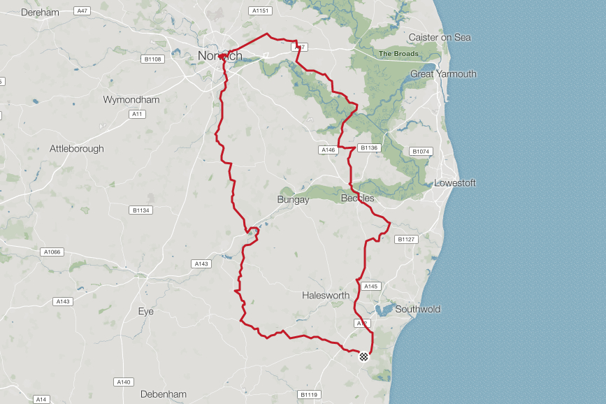 To Norwich for nationals spectathleting   Distance: 141.3km. Elevation: 1,126m.