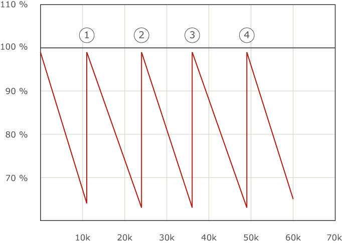 Graph showing the Lumen maintenance and theoretical lifespan of Metal Halide Bulbs.