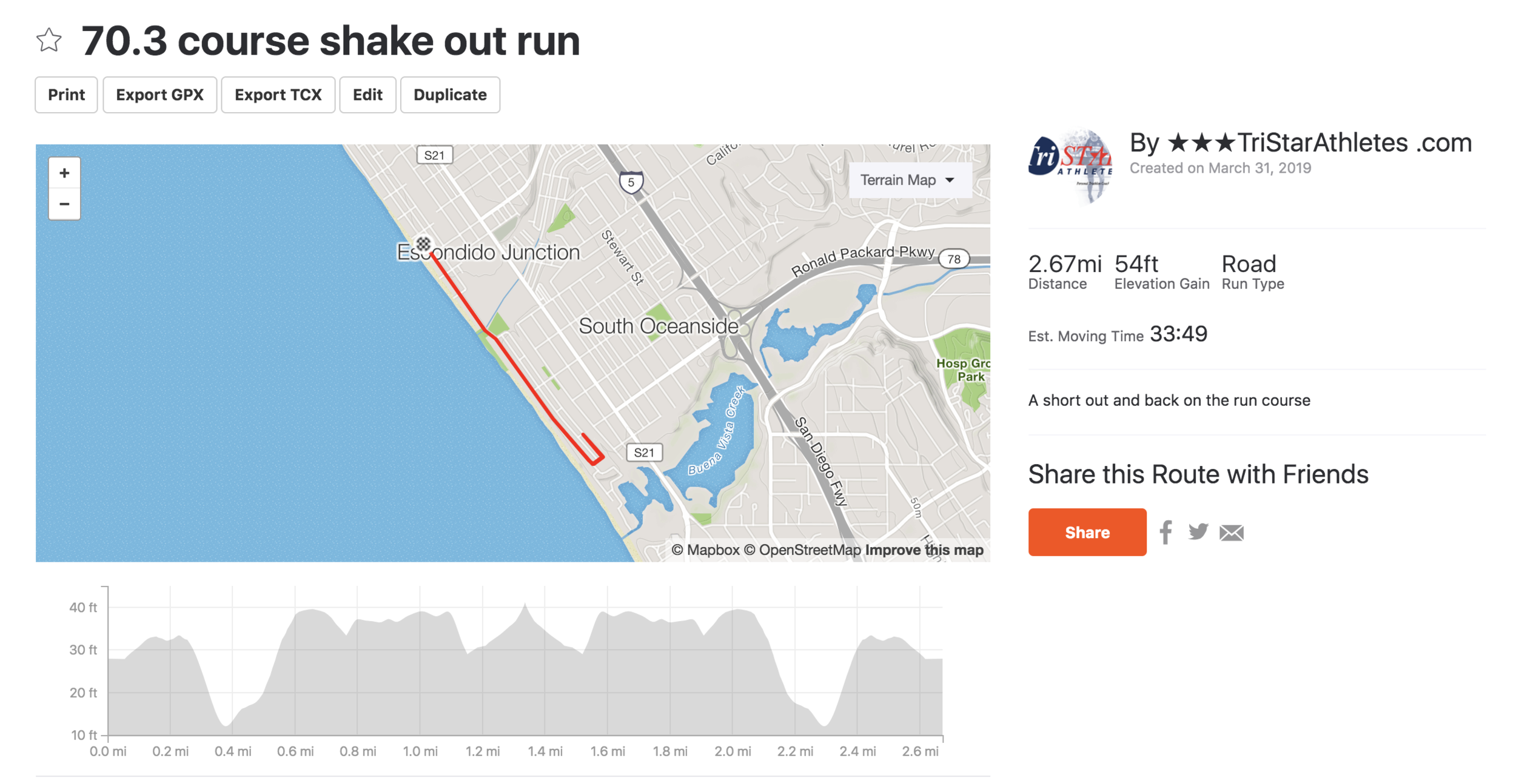 Short run on course - Travel day shake out run
