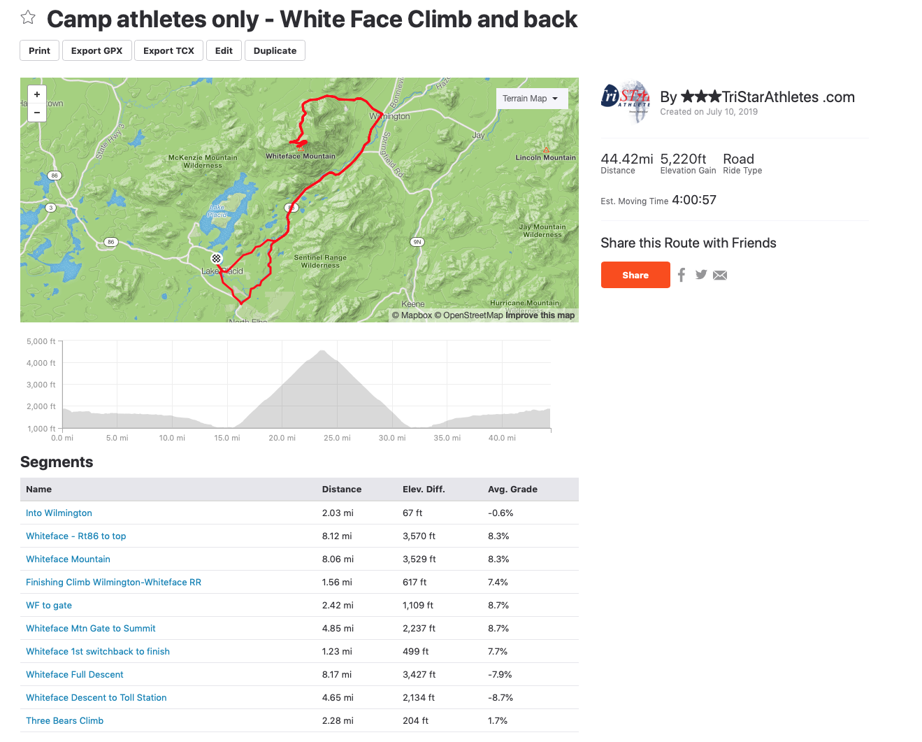 White Face Climb - Camp athletes only ride to white face and back to town