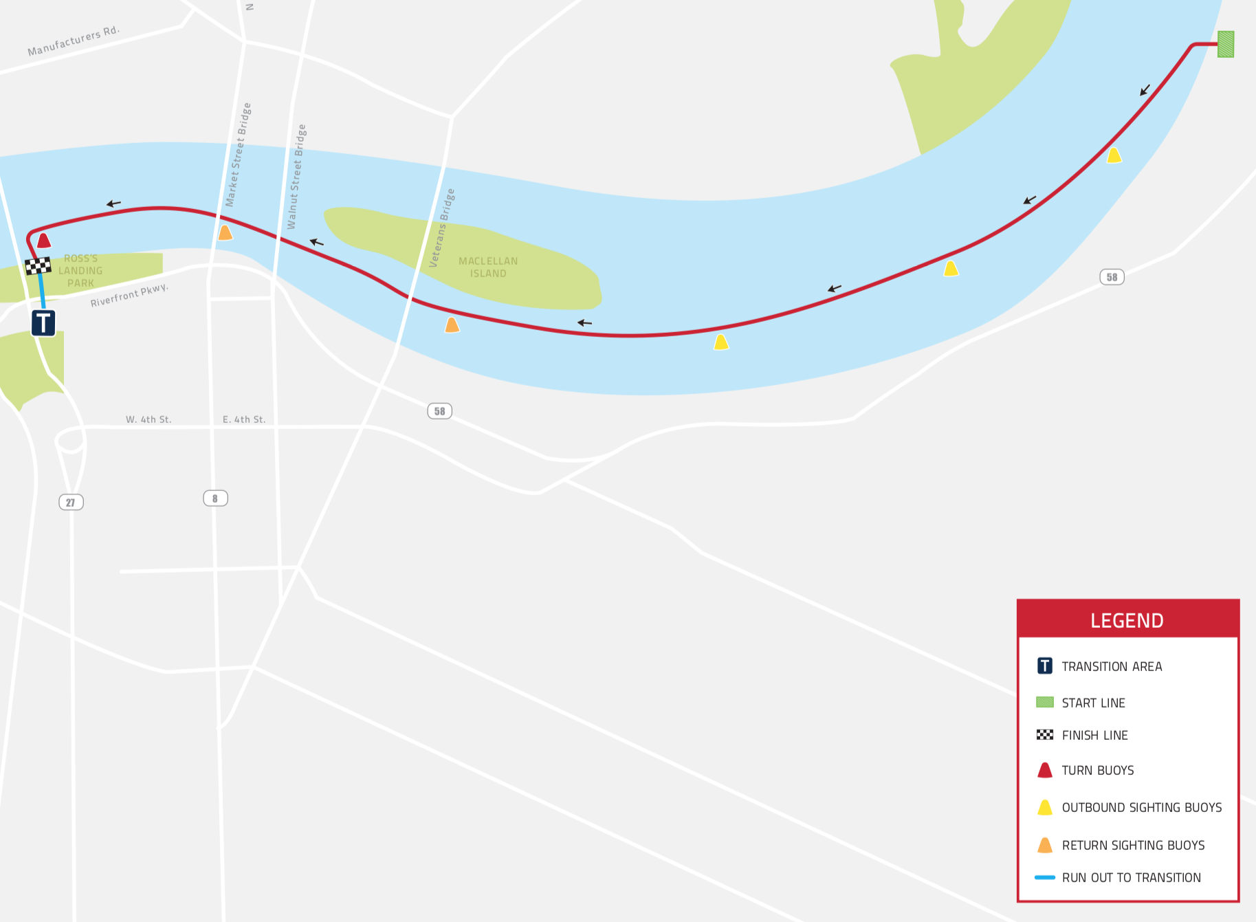The point-to-point swim in the Tennessee River will start 2.4 miles upstream of transition. Athletes will enter the water in a rolling start.