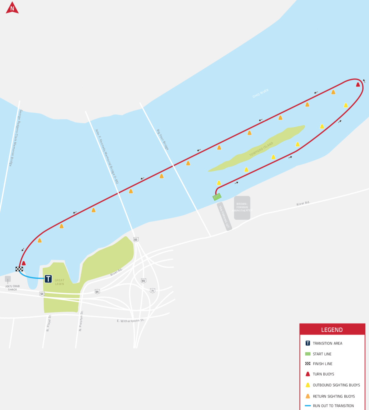 The 2.4-mile swim course is a unique, point-to-point swim set in a rolling start fashion (athlete position is a self-seeded start). Athletes will jump off the dock adjacent to the Tan Parking Lot and Brown-Forman Amphitheatre in Waterfront Park and finish at the wharf just west of the Great Lawn. The point-to-point swim begins in the protected waters behind Towhead Island before athletes enter the Ohio River's main channel and swim downstream toward the finish at the wharf by Joe's Crab Shack, just past The Great Lawn.