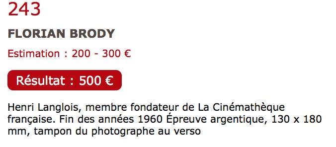 Auction Photo Henri Langlois