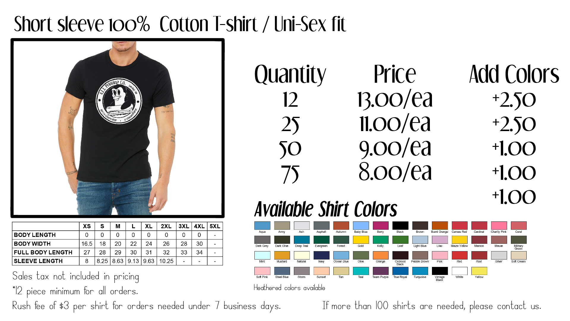 These are printed on Bella + Canvas Shirts or Next Level. High quality shirts that hold up best over time and years of washing. Heathered options available on 50/50 t-shirts. Design work and One color front and back included with price.