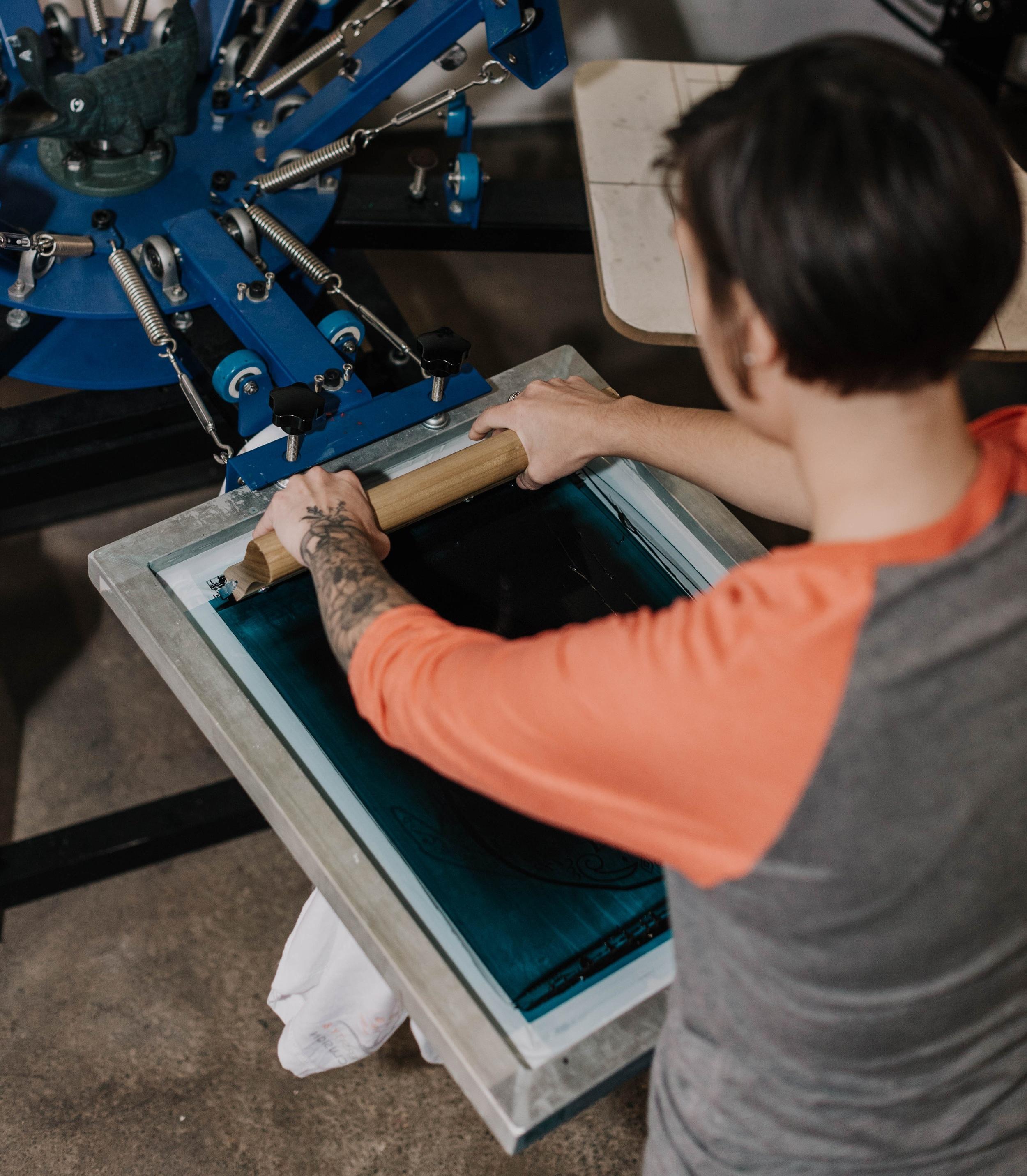 Using t-shirt press
