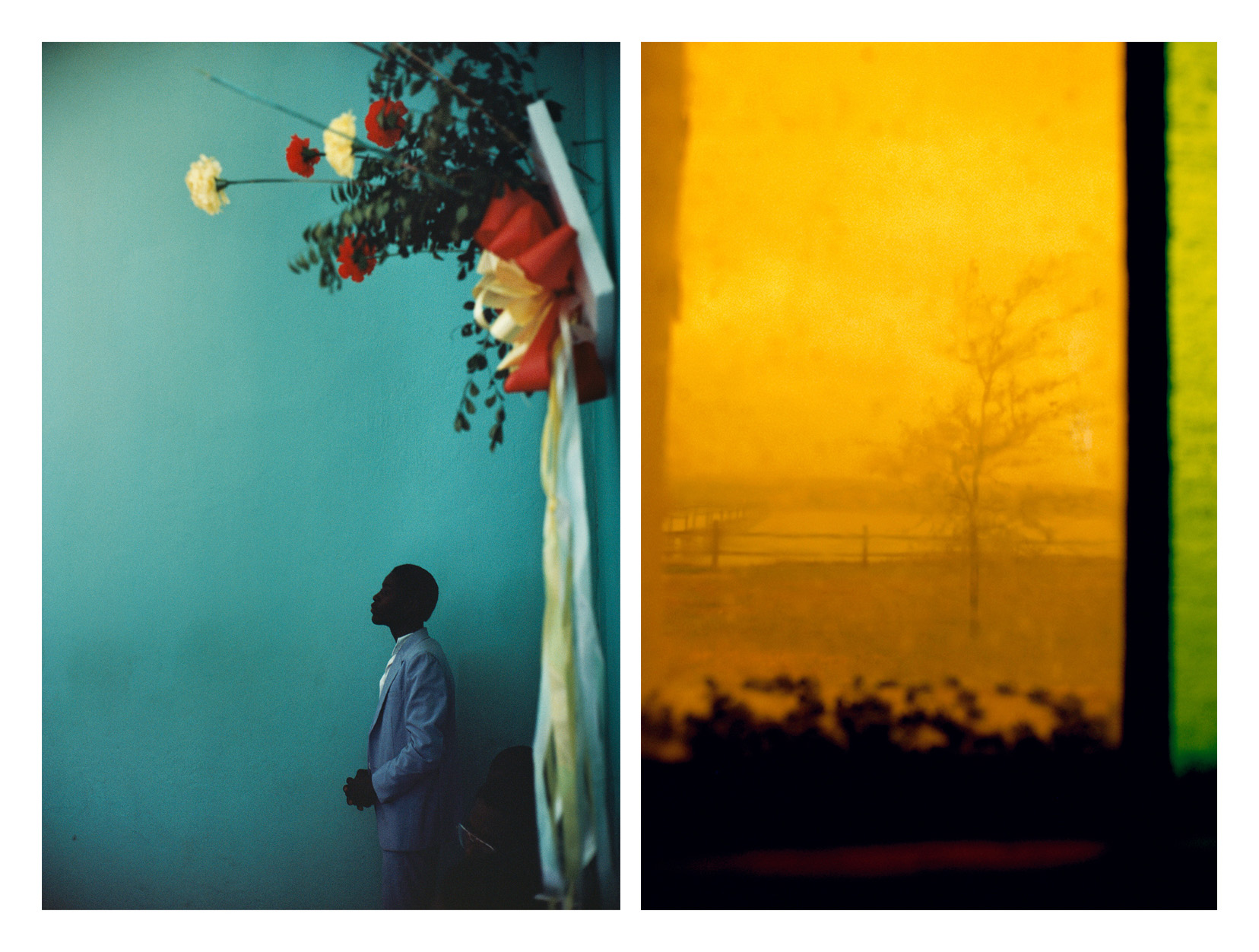 Photographs: (Left) Alex Webb, Arcahaie, Haiti; (Right) Rebecca Norris Webb, Stained Glass, both from the La Fabrica book, Slant Rhymes.