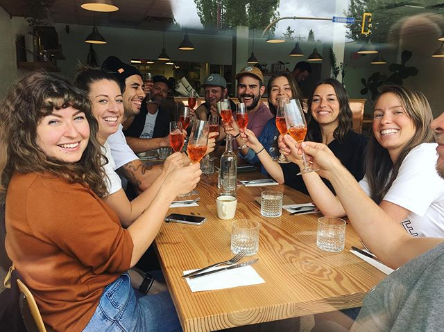 Aperol spritzes for EVERYONE! Thanks for coming @fieldhousebrewing and happy last day @ashley_duret - we love you so! 🧡