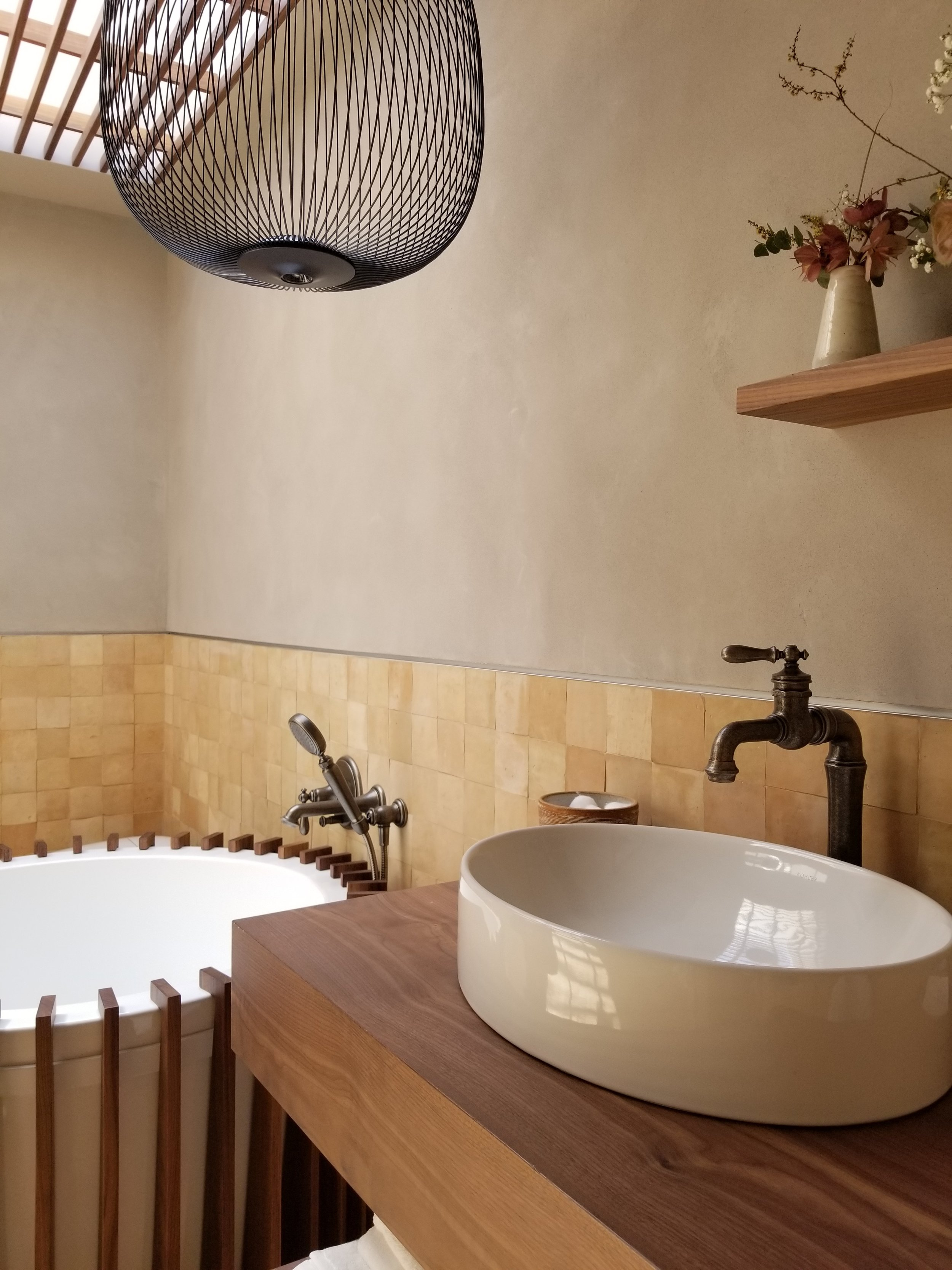 The Wabi Sabi Soak Room, by Clara Bulfoni was a refreshing, earthly private space. The wood made the space warm and cozy