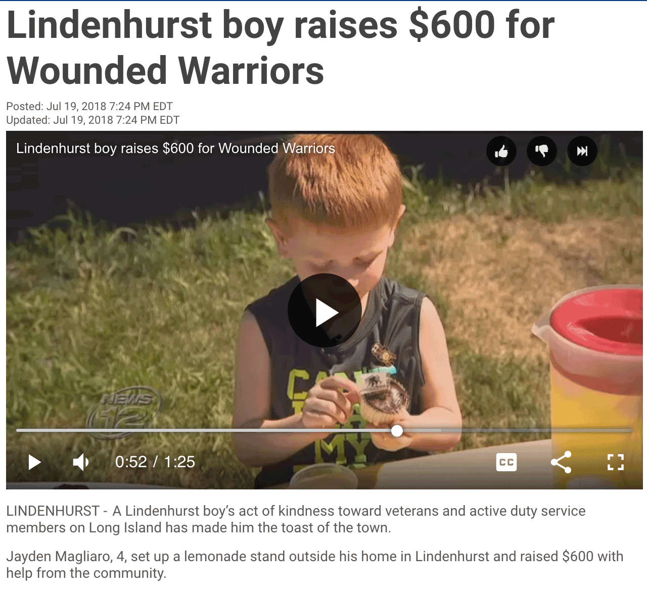 Four Year Old Sells Lemonade to Benefit Wounded Warriors