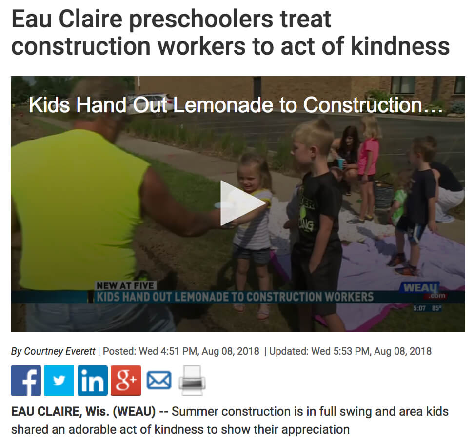 Preschoolers share lemonade with construction workers