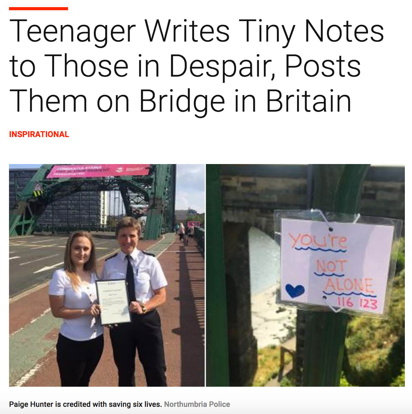 Teen Saves Lives With Notes On Britain Bridge
