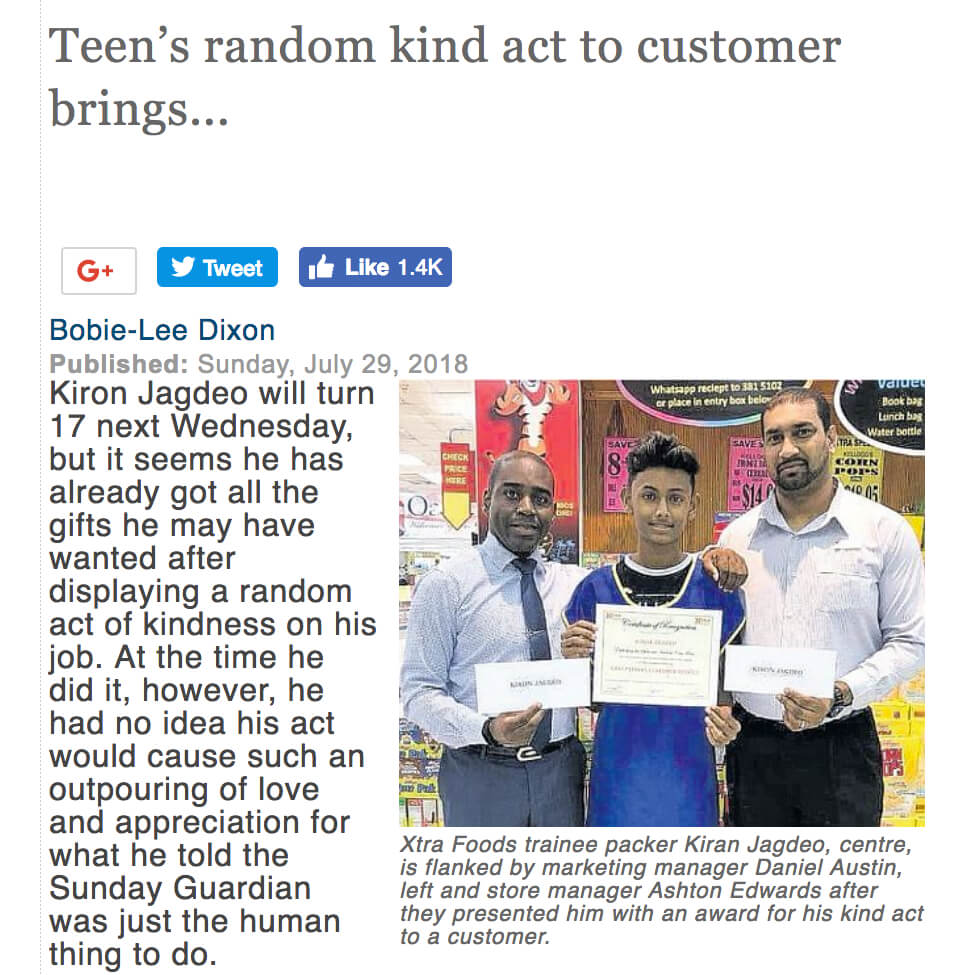 Trinidad Teen Pays for Groceries