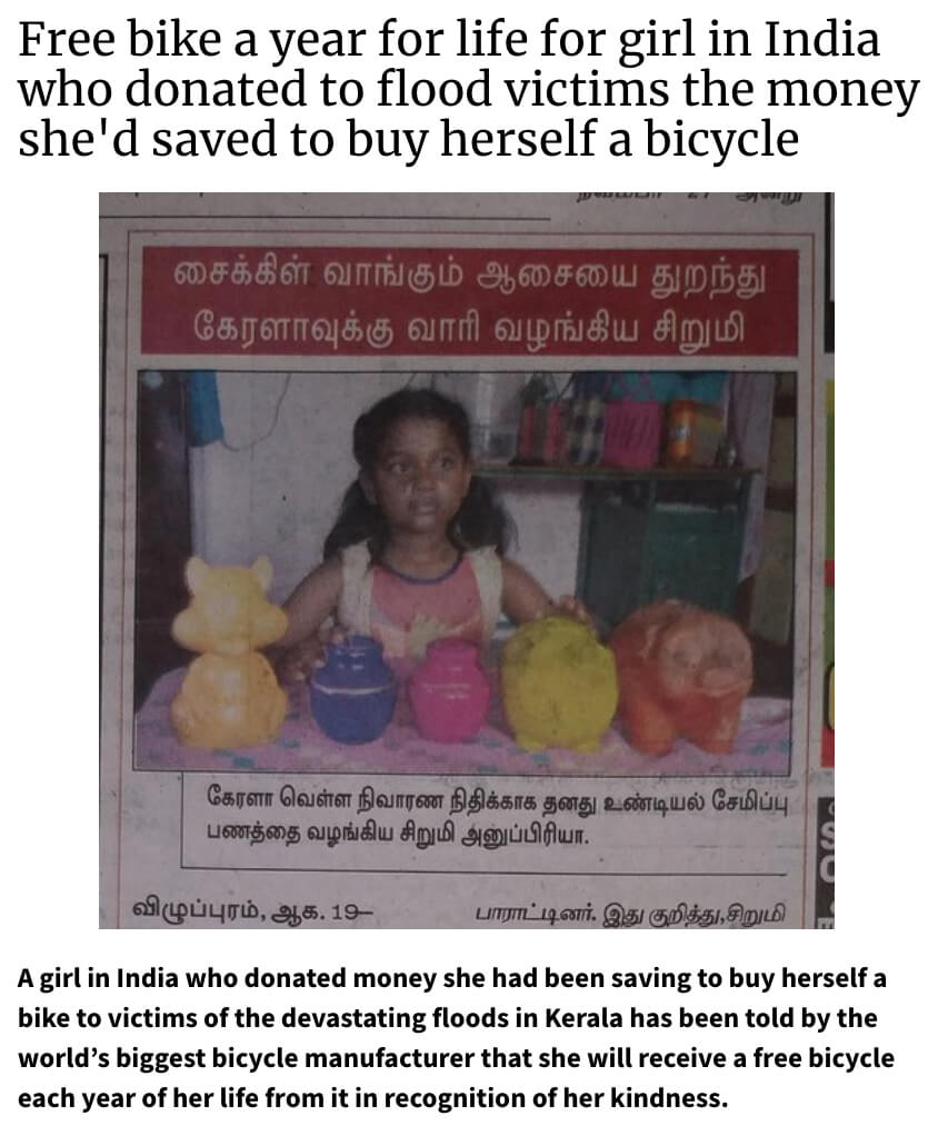 Girl donates bike money to help India monsoon victims