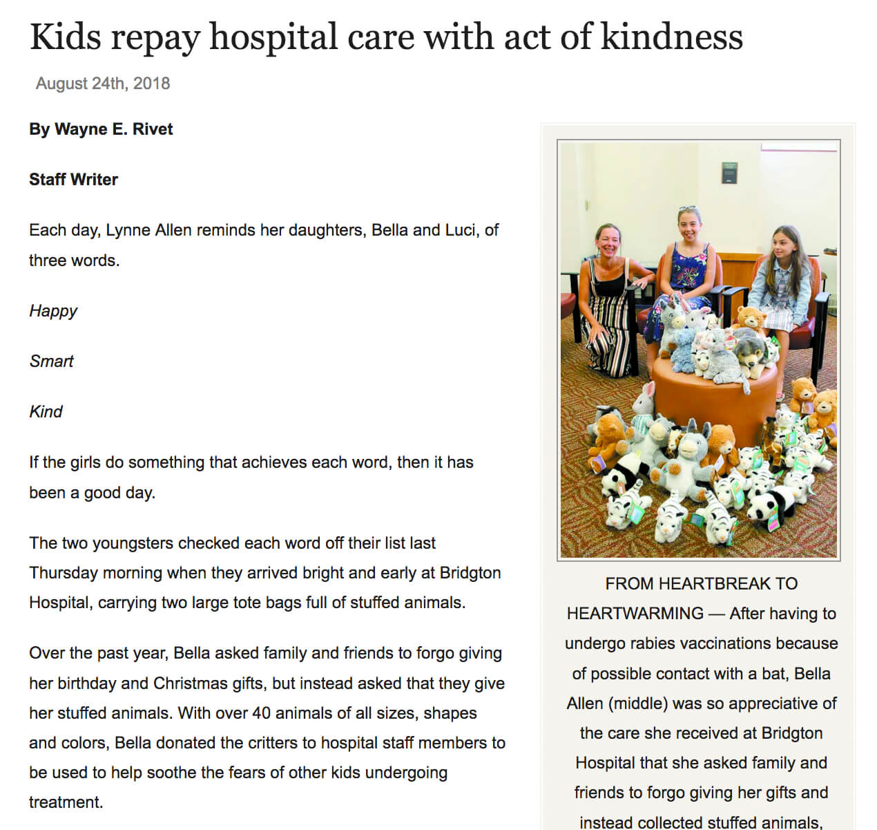 Girls donate stuffed animals to hospital