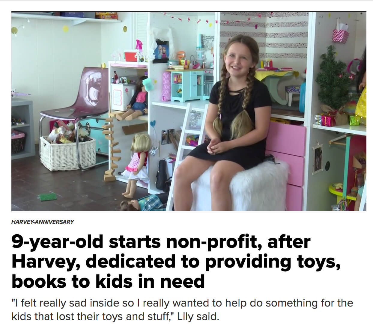 9 Year Old Founds Nonprofit to Donate Toys After Harvey