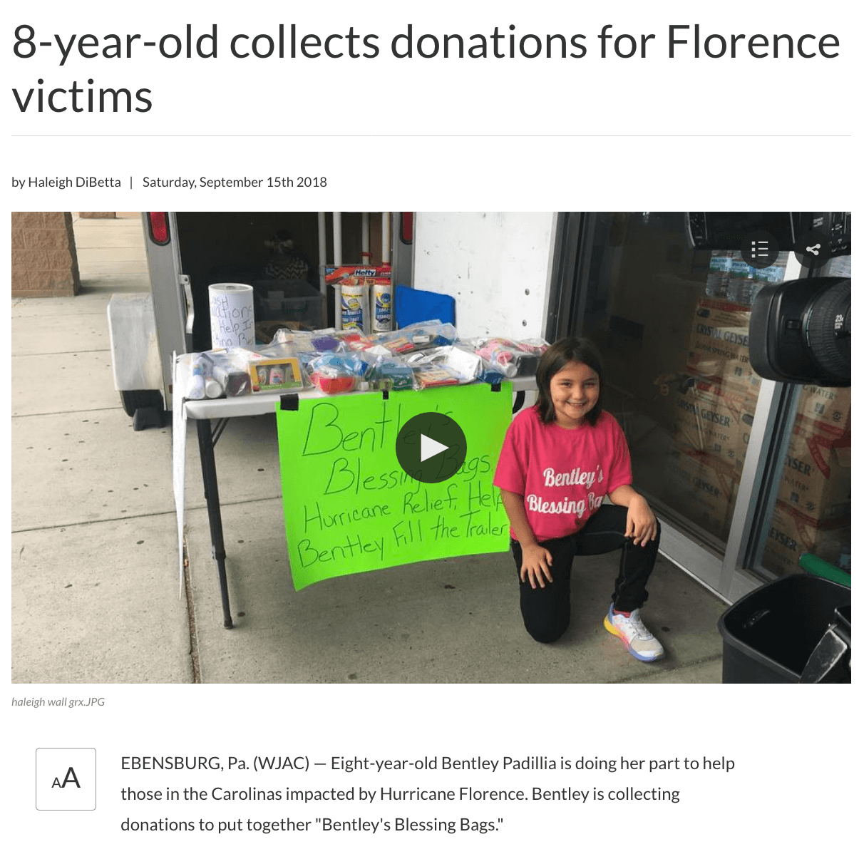 Hurricane Florence Donations