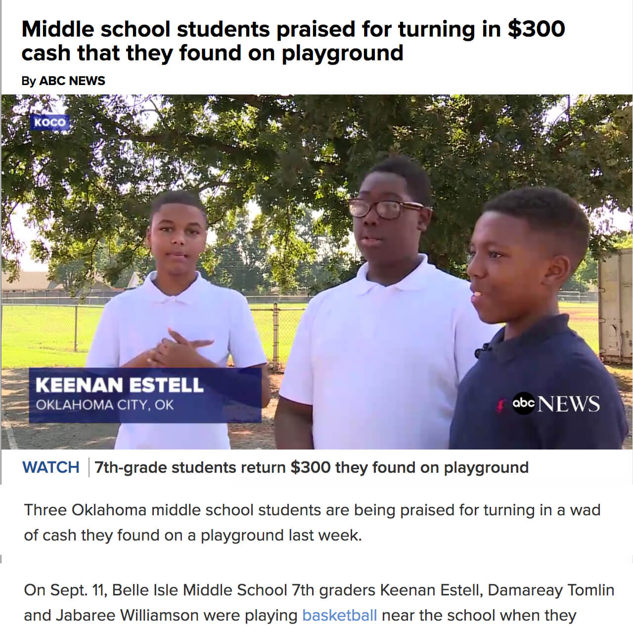 Boys Found Money on Basketball Court