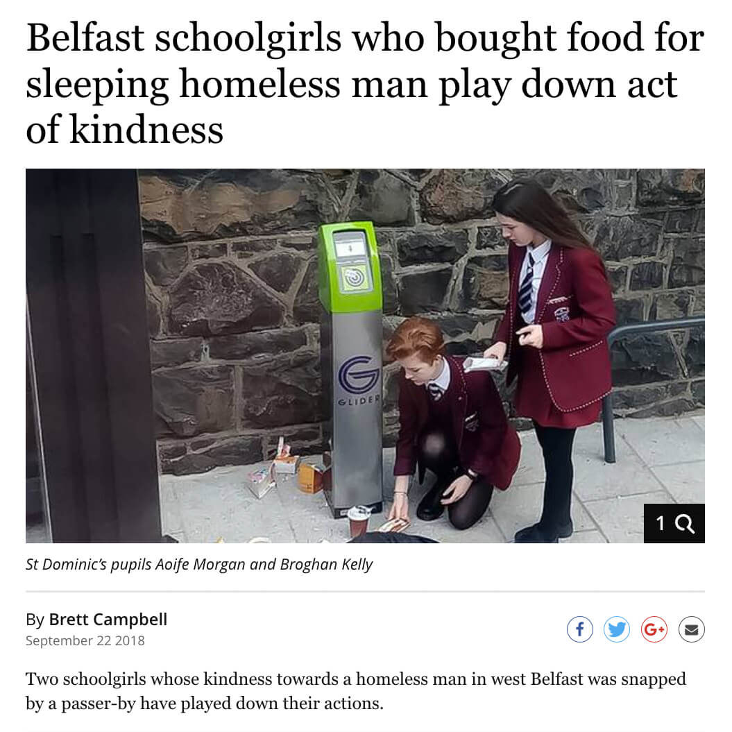 Belfast Students Food for Homeless Man