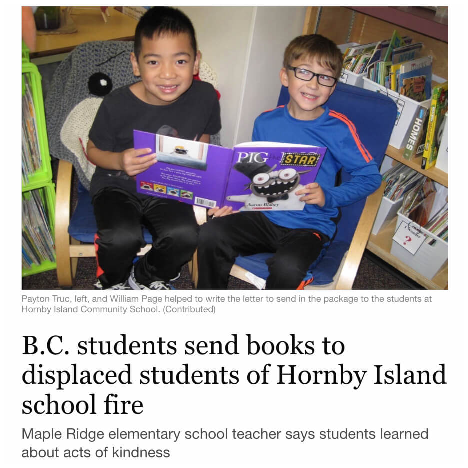 BC Students Send Books to Hornby Island School