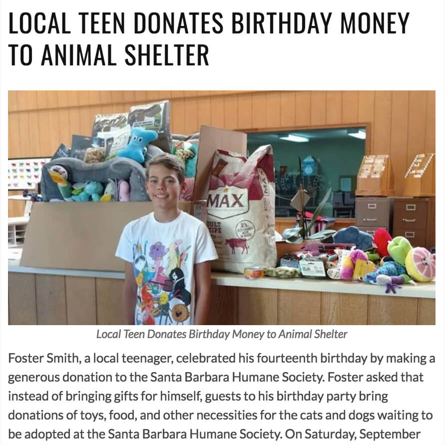 Teen Birthday Santa Barbara Humane Society