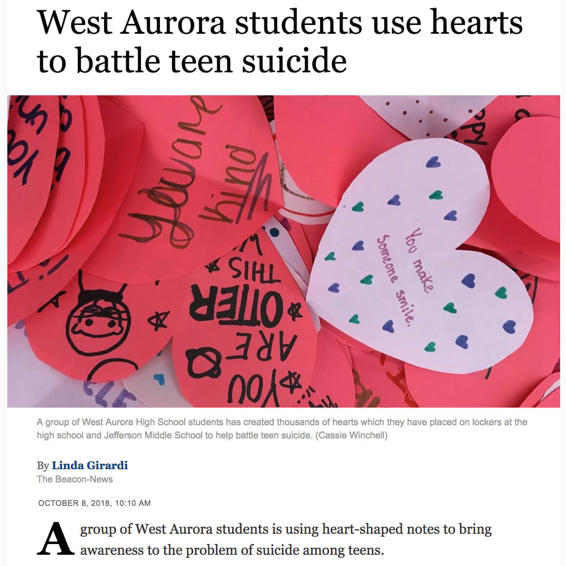 Hearts on Lockers to Battle Suicide
