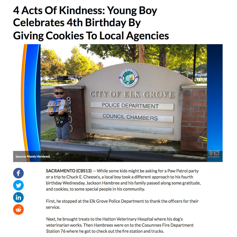 Four Acts of Kindness on Fourth Birthday