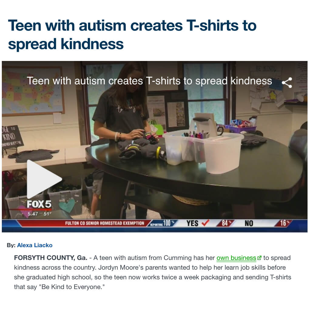 Teen with Autism Sells Kindness T-Shirts