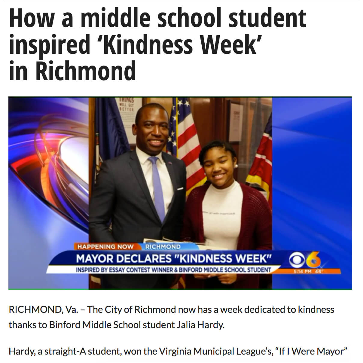 Middle School Student Inspires Kindness Week in Richmond