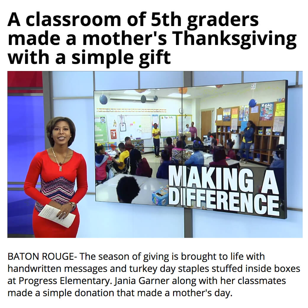 Fifth Grade Thanksgiving Donation