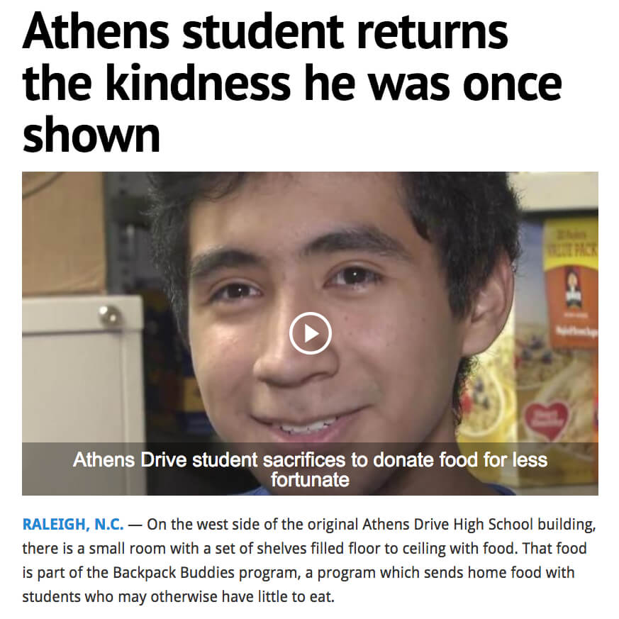 Student Donates to Food Pantry That Helped Him