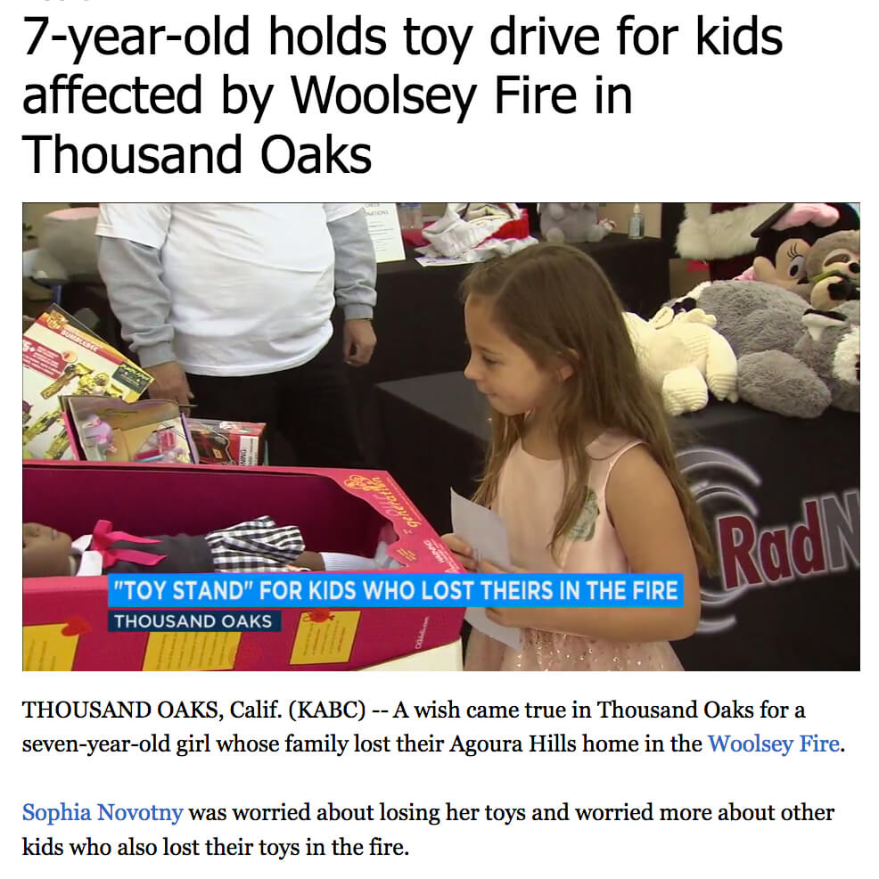 Girl Who Lost Home in Fire Toy Drive