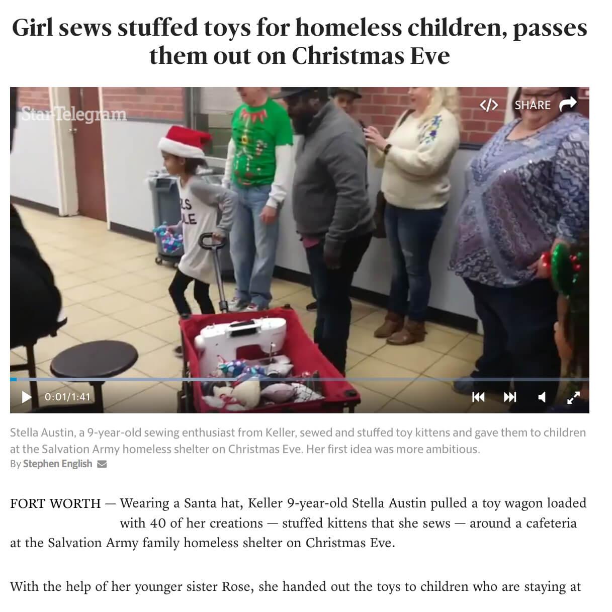 Girl Sews Stuffed Toys for Homeless Children