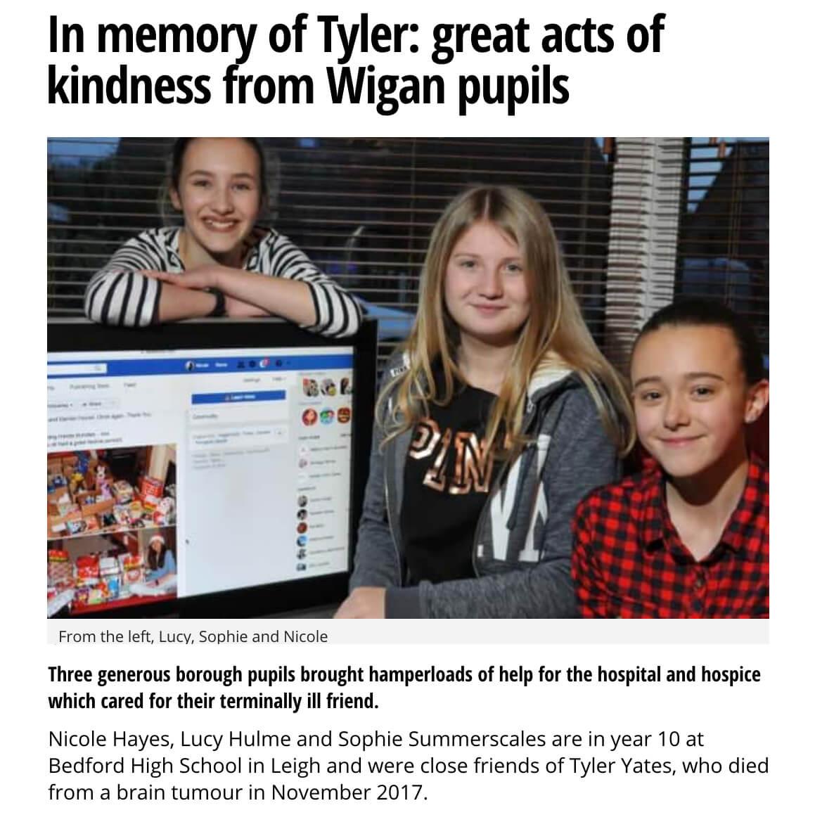 Kindness in Memory of Friend w Brain Tumor