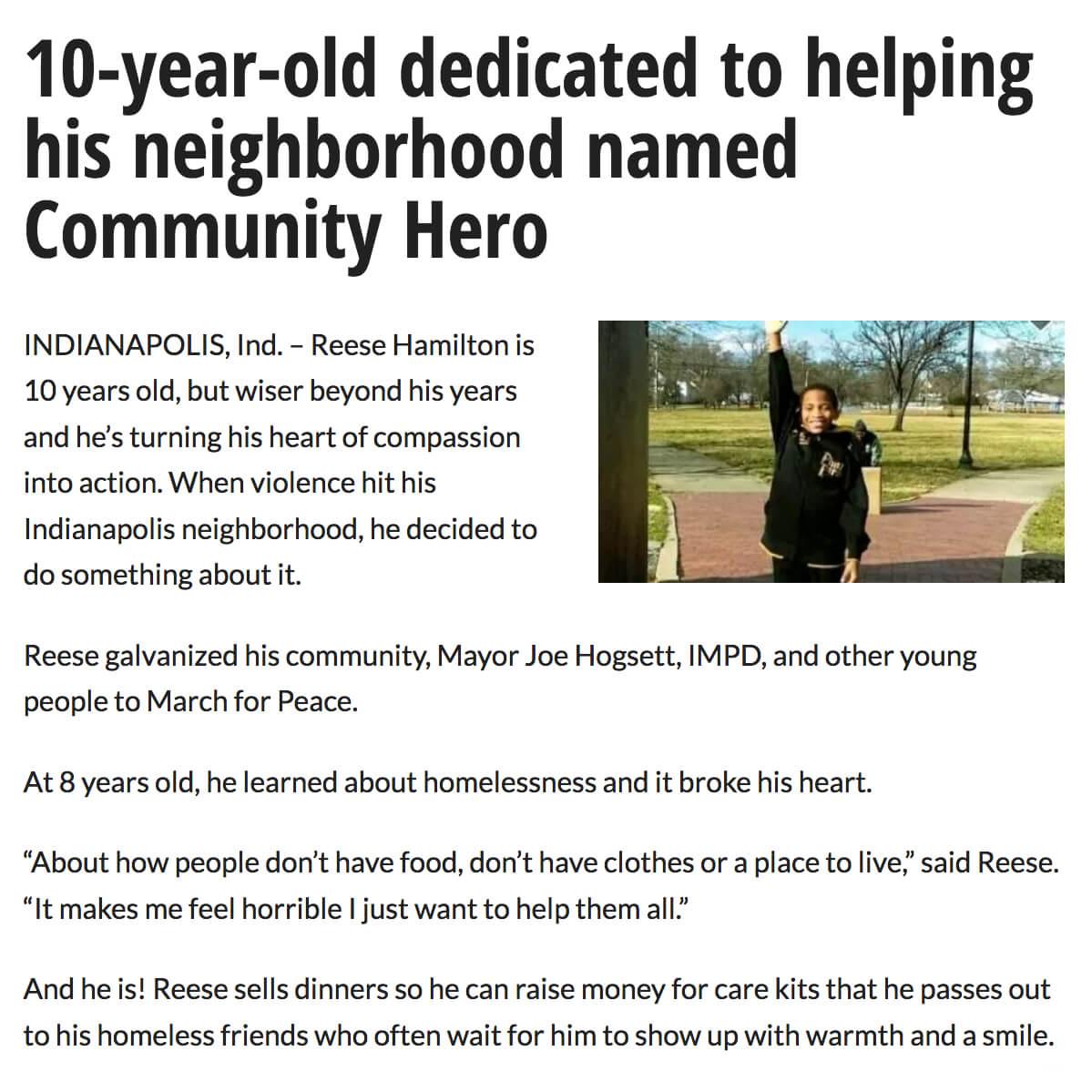 Ten Year Old Community Hero