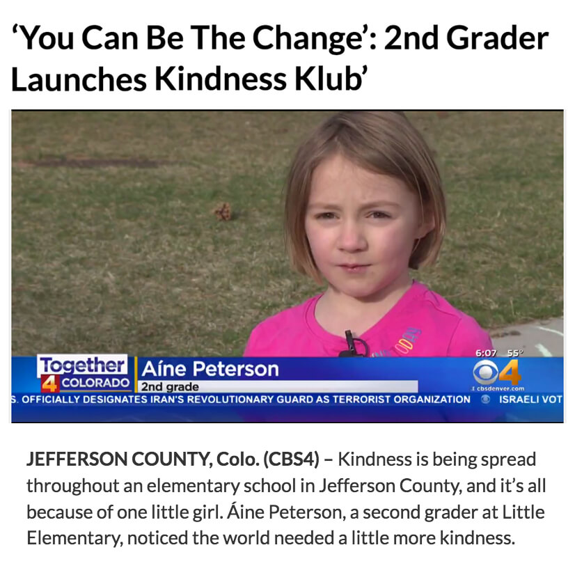 Second Grader Launches Kindness Klub