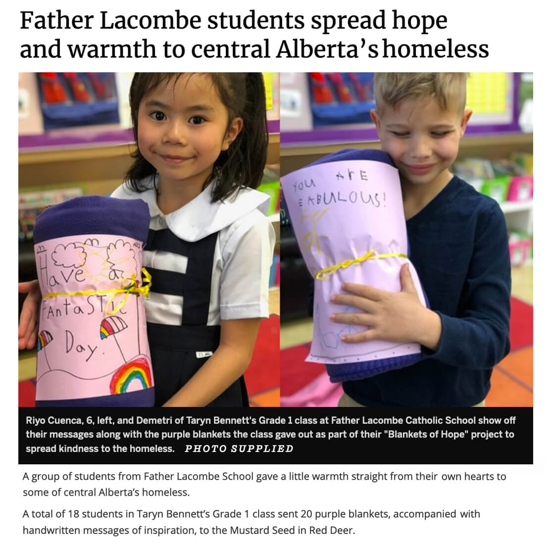 Father Lacombe Blankets for Hope