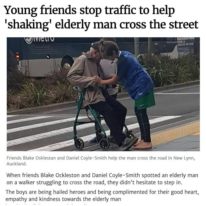NZ Elderly Man Cross Street
