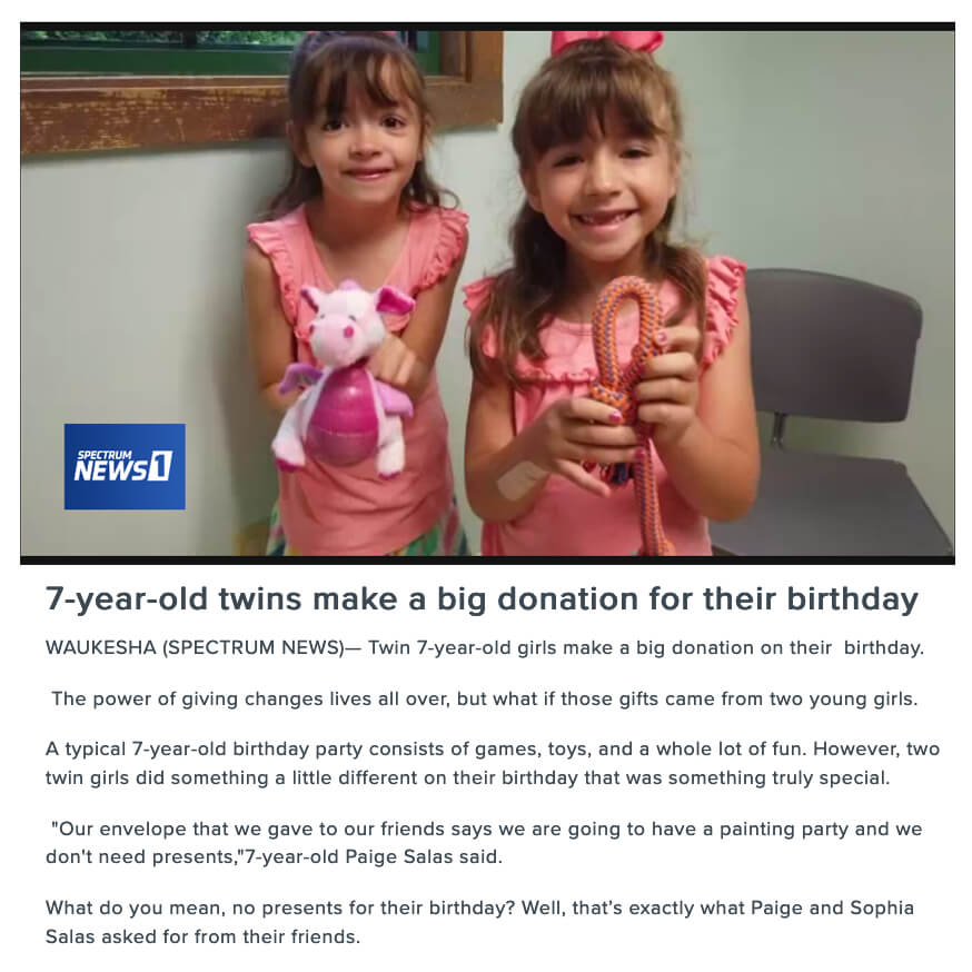 Twins donate to shelter for birthday