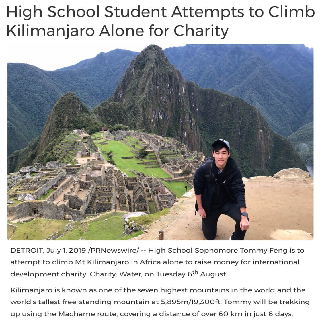 Student Climbs Kilimanjaro for Charity